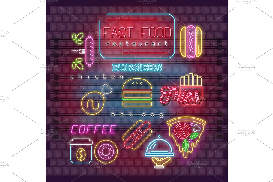Neon Fast Food Icons Set