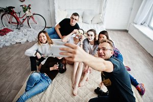 Group of people making selfie. Team