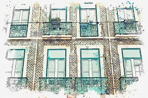 Beautiful old houses in Lisbon