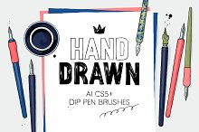 AI hand drawn dip pen brushes by  in Brushes