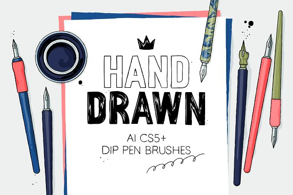 Photoshop Brushes: Side Project - AI hand drawn dip pen brushes