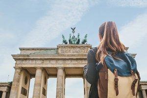 Tourist near the Brandenburg Gate