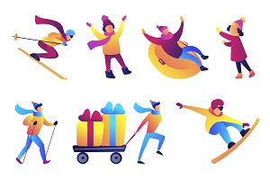 Winter fun and sports vector
