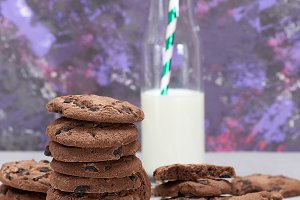 baked round chocolate chip cookies