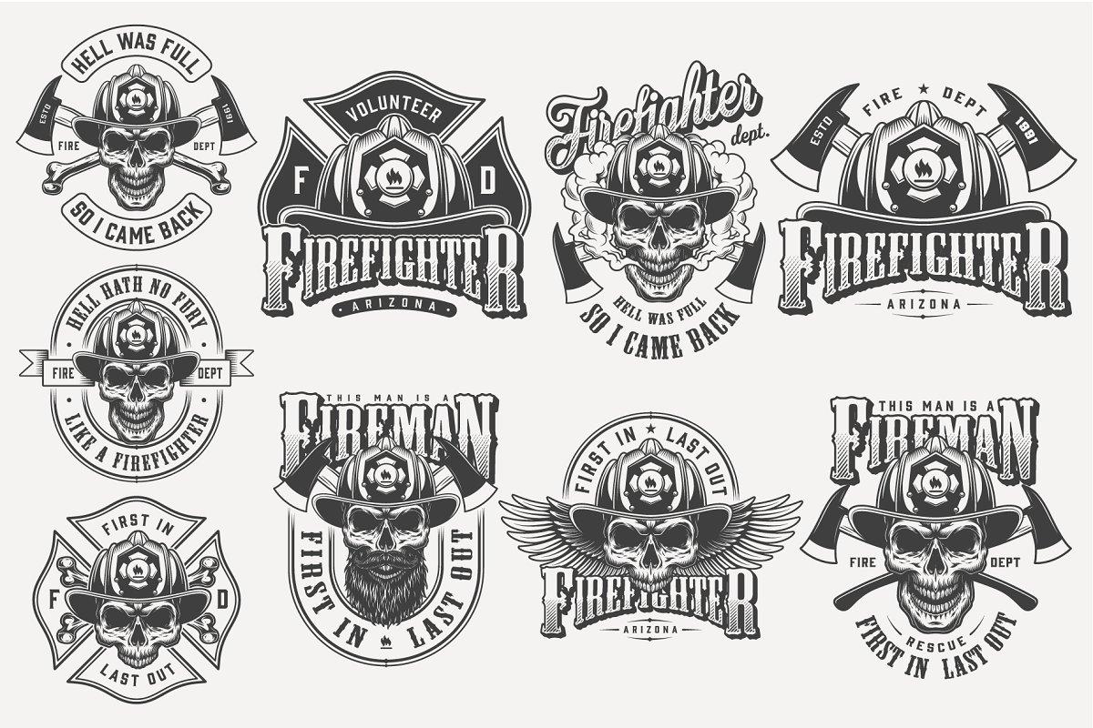 Vintage Firefighter Designs Set