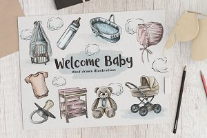 Hand Drawn Newborn Sketches Set