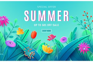 Summer sale ad background with paper