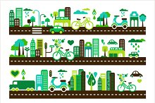 Green city, buildings and cars icons