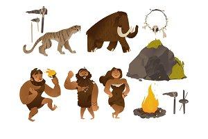 Stone age vector illustration set