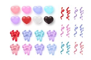 Vector hearts and ribbon bows with