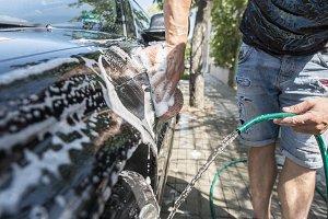 Men wash his car