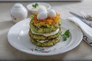 Zucchini fritters, vegetarian