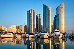 Busan marina with yachts on sunset