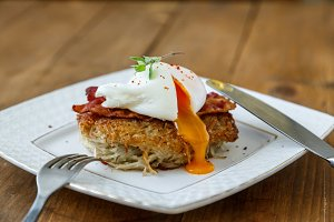 Potato rosti, poached egg with runy