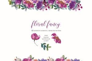 Watercolor Aubergine Soft Flowers