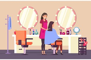 Visit to hairdresser at beauty salon