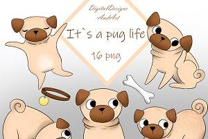 Pug clipart