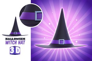 Halloween Witch Hat 3D Render