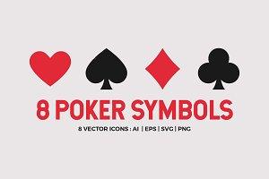 8 Playing Card Poker Symbols Set