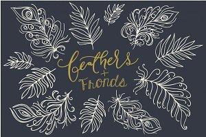Fancy Feathers & Fronds Clip Art