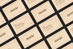 Wooden Business Card Mockup PSD