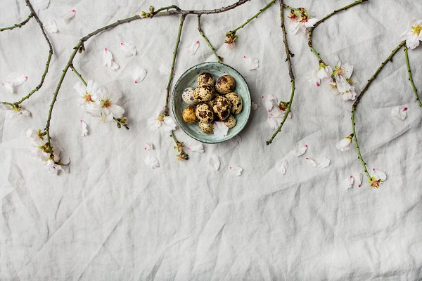 Easter flat-lay with quail eggs and