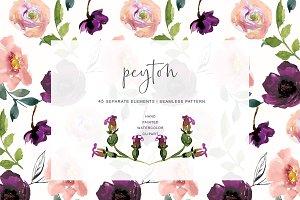 Watercolor Blush Dark Purple Flowers