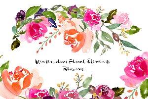 Watercolour Floral Elements Blossoms