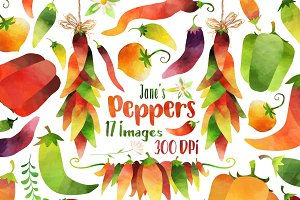 Watercolor Peppers Clipart