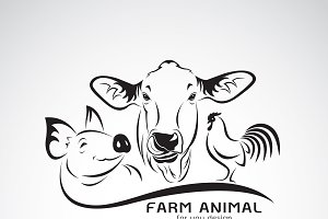 Vector group of animal farm label.