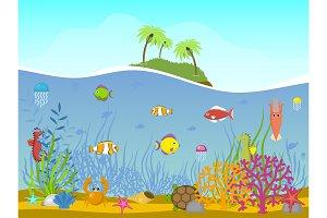 Marine world background vector
