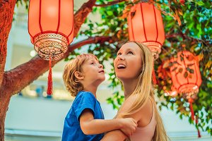 Mom and son celebrate Chinese New