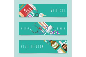 Medical instrument set of banners