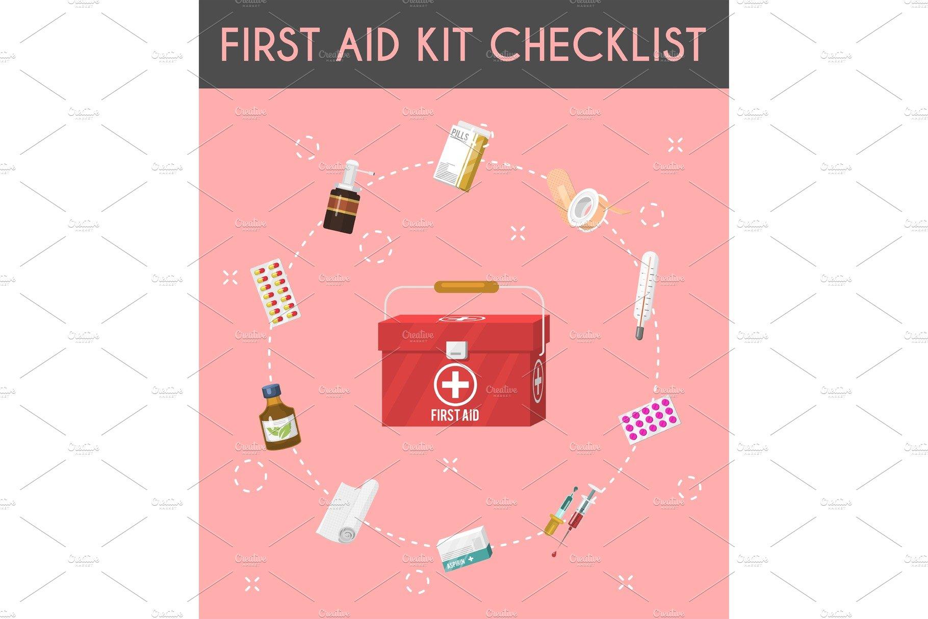 First aid kit cartoon checklist