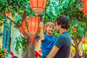 Dad and son celebrate Chinese New
