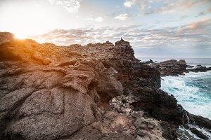 Volcano mountain cliff pacific ocean