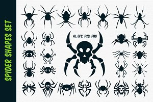 Spider Vector Shapes for Halloween