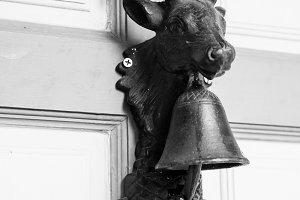 A deer head with bells
