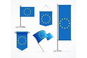 Europe Flag Banner Set. Vector