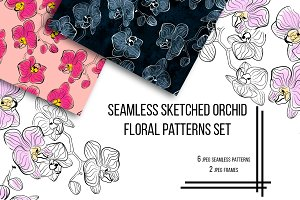 Seamless Sketched Orchids Patterns