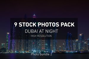Dubai Night Photos Pack