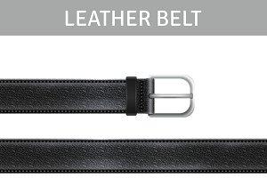 Black leather belt realistic set