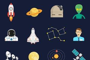 Space universe symbols icons set