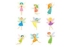 Cartoon Characters Fairies Set.
