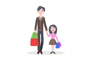 Family Shopping Cartoon Flat Vector