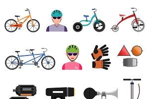 Bicycle sport icons flat set
