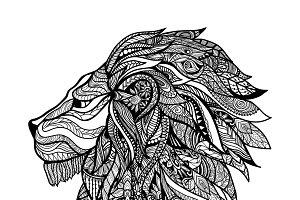 Hand drawn decorative lion head