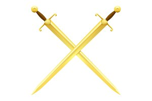 Two Crossed Swords of Gold on White