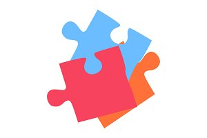 Colorful Puzzle Eements Isolated on