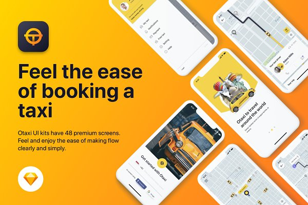 Website Templates - Taxi Booking UI KIT for Sketch App
